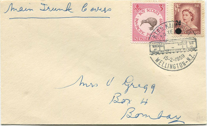 1959 R.T.P.O. MAIN TRUNK WELLINGTON N.Z. commemorative postmark