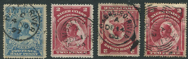 1894-8 Niger Coast Protectorate values with postmark interest.