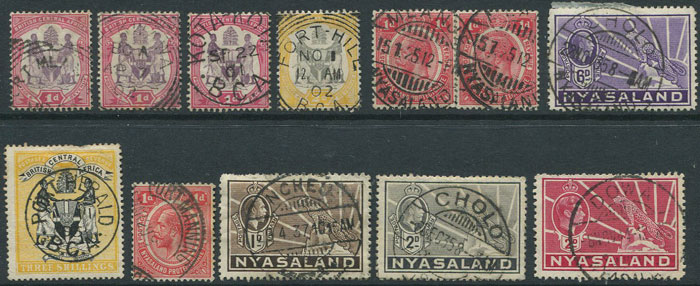1896-1944 Nyasaland postmark selection