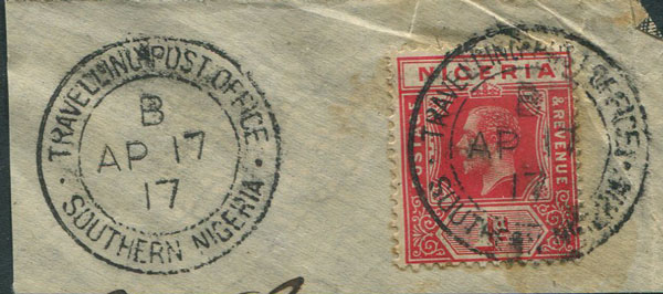 1917 TRAVELLING POST OFFICE SOUTHERN NIGERIA double circle cds postmark