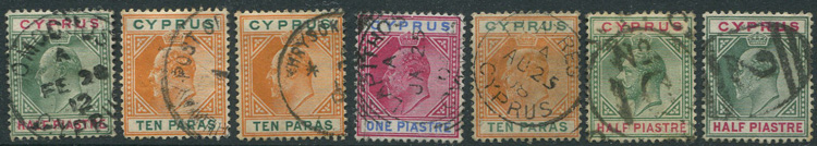 1902-12 Cyprus selection of postmarks