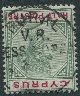 1894-6 ½pi  with V.R. MESS A OREA No.1 RURAL SERVICE Cyprus postmark