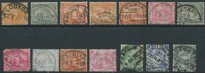 1885-1911 Egypt selection of bi-lingual cds village postmarks.