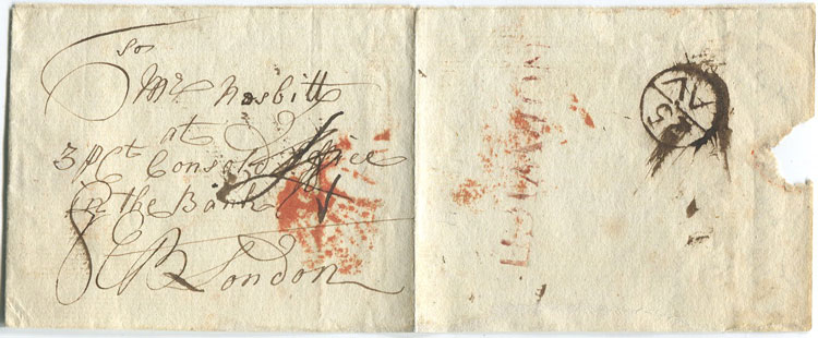 1780 (circa) NORWICH s/l h/s in red on cover to London