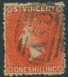 1880 St Vincent small star, perf 11-12½ 11/- vermilion (SG31)