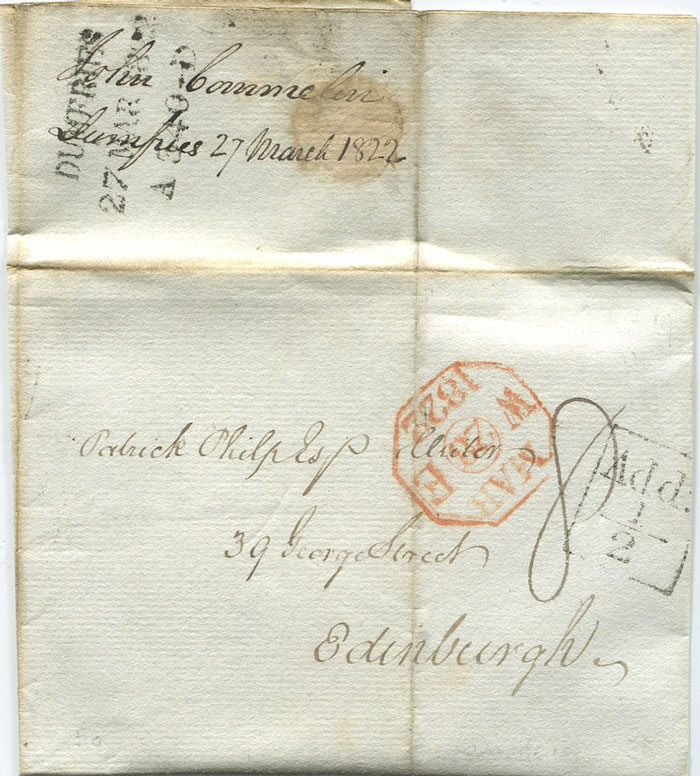 1822 boxed DUMFRIES Add! ½ mark on EL to Edinburgh.