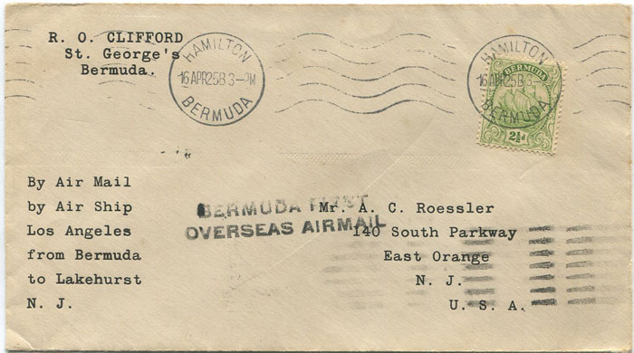 1925 (16 Apr) Zeppelin cover from Bermuda to New Jersey