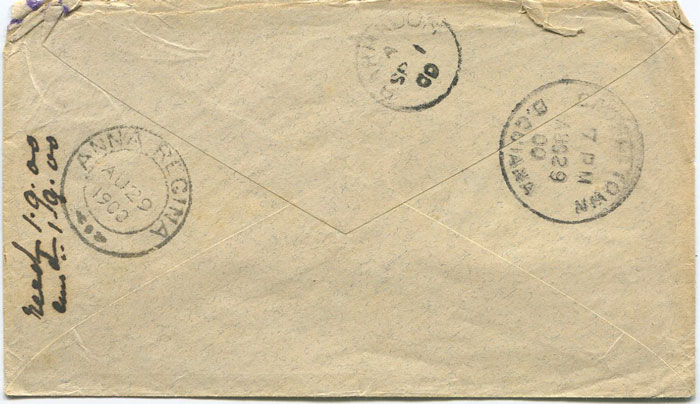 1900 ANNA REGINA double circle village cds cancel on British Guiana 2c