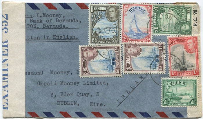 1942 (17 Feb) airmail censored cover from Bermuda to Ireland