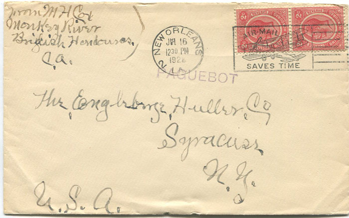 1928 (16 July) British Honduras 2c pair tied by New Orleans m/c on cover from Monkey River