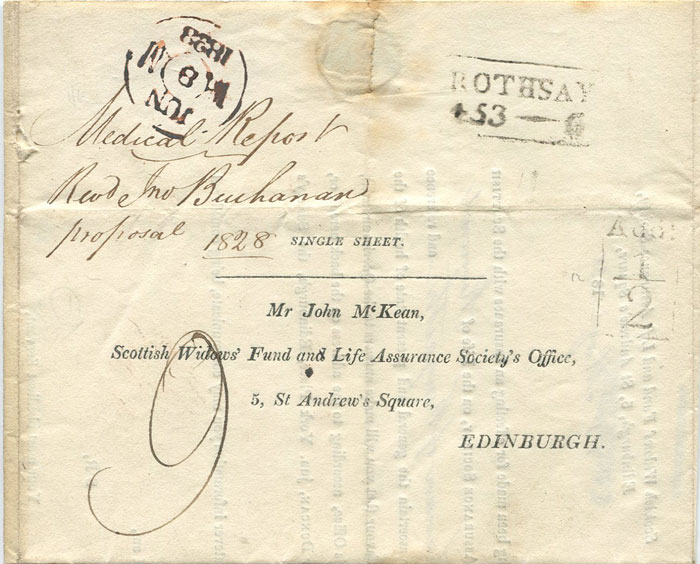 1828 (31 May) ROTHSAY boxed Add! ½ on EL to Edinburgh.