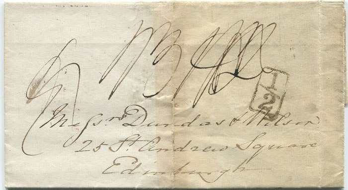 1833 (5 Nov) LONDON boxed ½ with reversed fraction bar