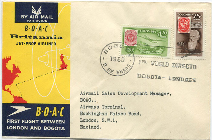 1960 (10 Jan) Colombia - London first flight cover per B.O.A.C.