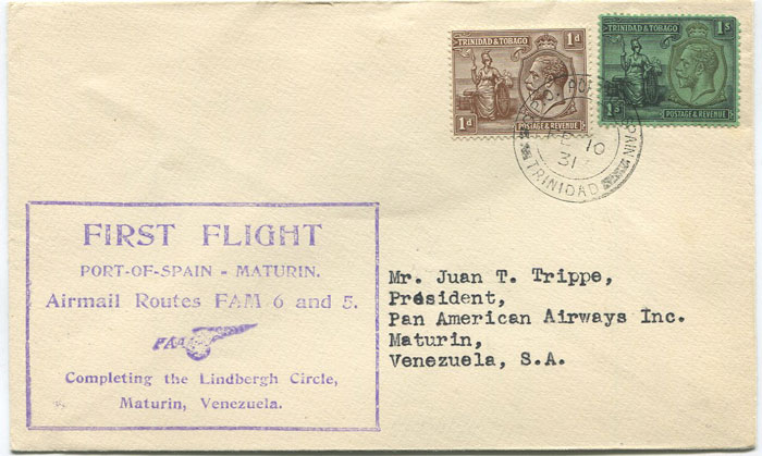 1931 (10 Feb) Trinidad - Maturin, Venezuela first flight cover per Pan Am
