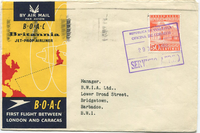 1958 (29 Oct) First Flight cover Caracas, Venezuela - Barbados per B.O.A.C.