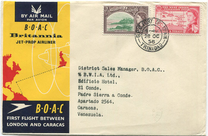 1958 (28 Oct) First Flight cover Trinidad - Venezuela per B.O.A.C.