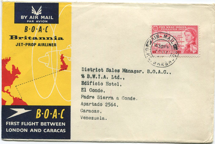 1958 (28 Oct) First Flight cover Barbados - Caracas, Venezuela per B.O.A.C.