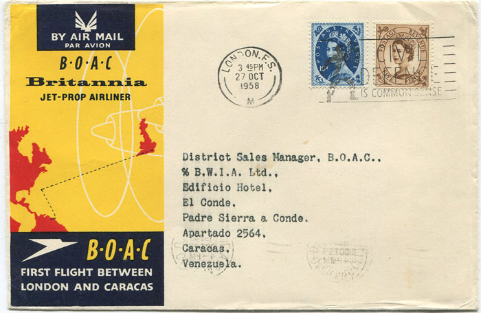 1958 (27 Oct) First Flight cover London - Caracas, Venezuela per B.O.A.C.
