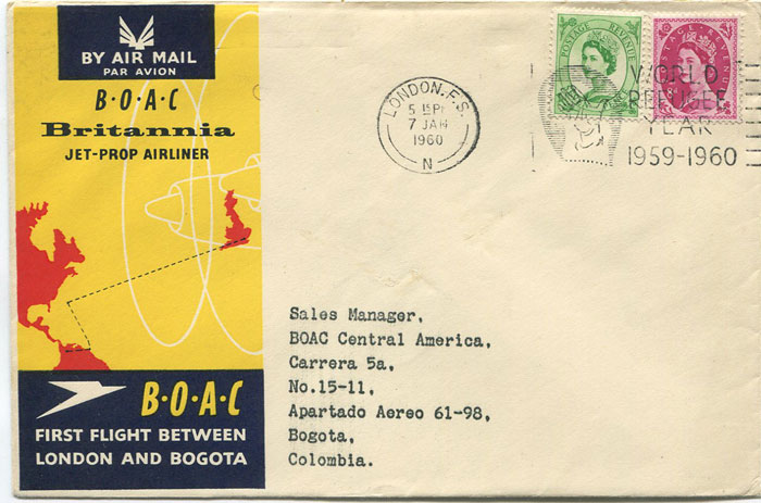 1960 (7 Jan) First Flight cover London - Bogota, Colombia per B.O.A.C.