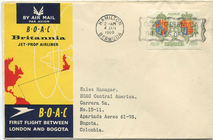 1960 (7 Jan) First Flight cover Bermuda - Bogota, Colombia per B.O.A.C.