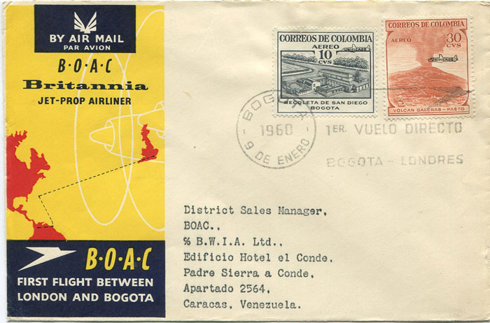 1960 (9 Jan) First Flight cover Bogota, Colombia - Caracas, Venezuela per B.O.A.C.