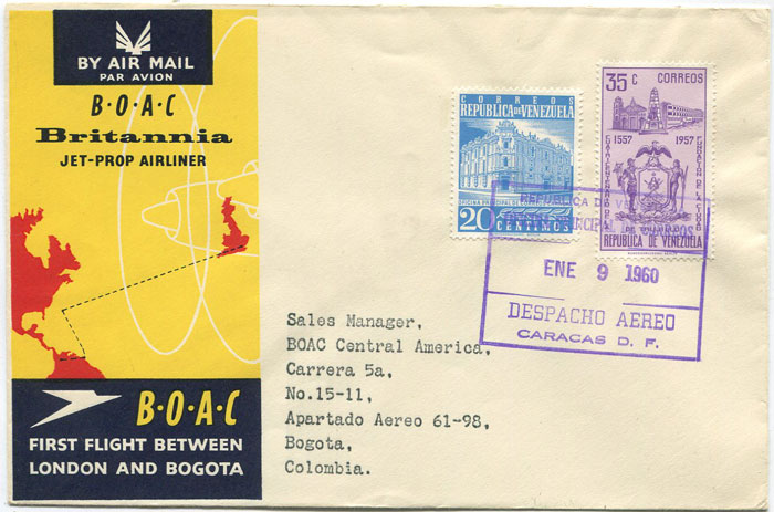 1960 (9 Jan) First Flight cover  Caracas, Venezuela - Bogota, Colombia per B.O.A.C.