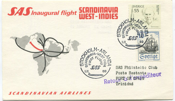 1969 (1 Nov) Sweden - Trinidad first flight card per S.A.S.