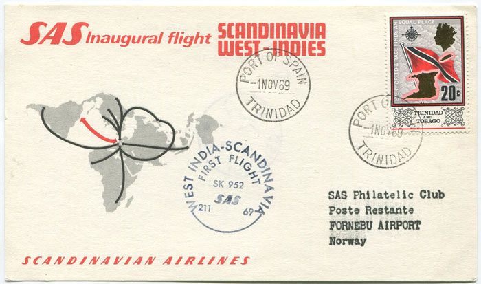1969 (1 Nov) Trinidad - Norway first flight card per S.A.S.