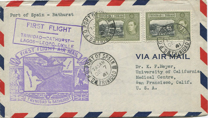 1941 (7 Dec) Trinidad - Bathurst, Gambia first flight cover per PAA