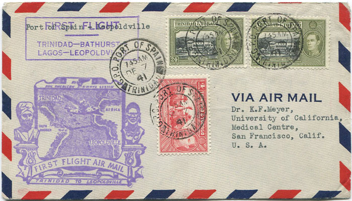 1941 (7 Dec) Trinidad - Leopoldville, Belgium Congo first flight cover per PAA