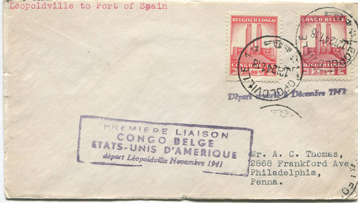 1941 (12 Dec) Leopoldville, Belgium Congo - Trinidad first flight cover per PAA