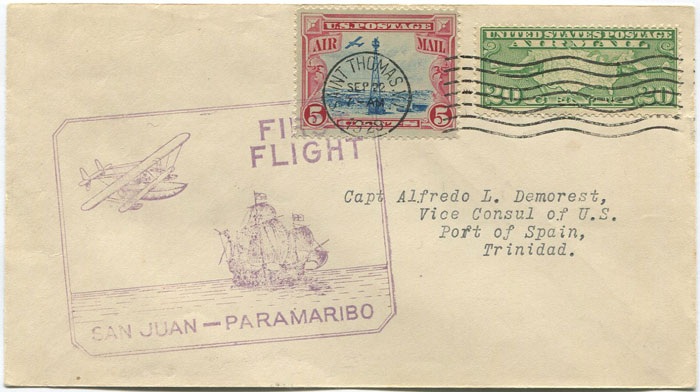 1929 (22 Sep) St Thomas - Trinidad first flight cover per Pan AM
