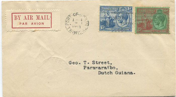 1929 (23 Sep) First flight cover Trinidad - Suriname per Pan Am