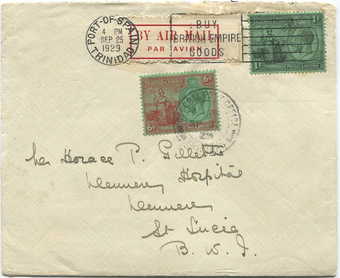 1929 (25 Sep) First flight cover Trinidad - St Lucia per Pan Am