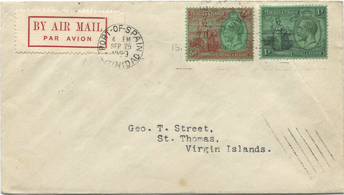 1929 (25 Sep) First flight cover Trinidad - St Thomas, Virgin Islands per Pan Am