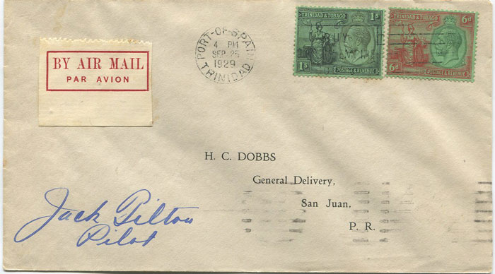 1929 (25 Sep) First flight cover Trinidad - San Juan, Puerto Rico per Pan Am