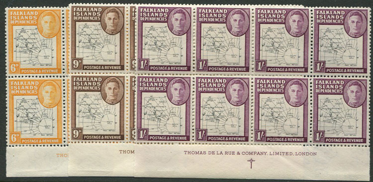 1946-9 Falkland Is. Dependencies thin map set to 1/-(SG G9-16)
