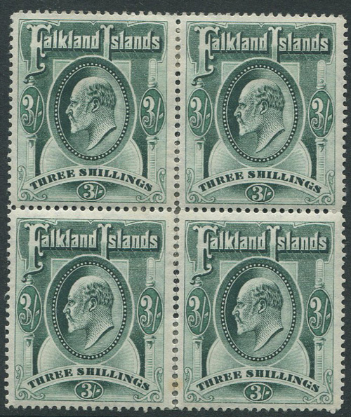 1904-12 Falkland Is. 3/- green (SG49)