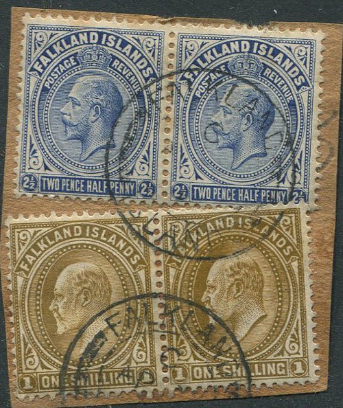 1904-12 Falkland Is. 1/- (SG48) pair and 1912-20 2½d (SG63) pair