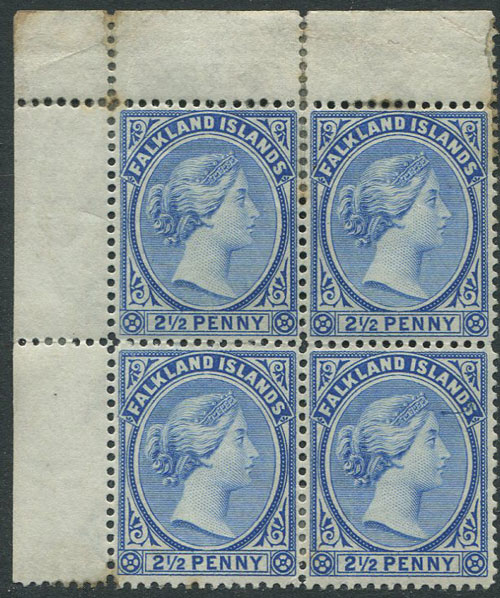 1891-1902 Falkland Is. wmk reversed 2½d ultramarine (SG30a)