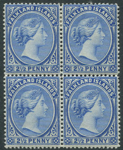 1891-1902 Falkland Is. wmk reversed 2½d deep ultramarine (SG30cx)