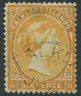 1891-1902 Falkland Is. 6d orange-yellow with reversed wmk (SG30x)