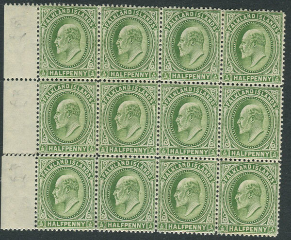 1904-12 Falkland Is. ½d pale yellow green (thick paper) (SG43b)
