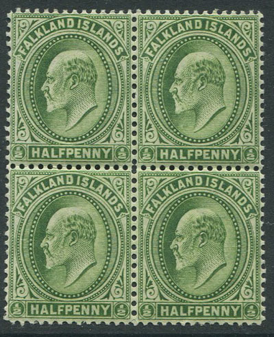 1904-12 Falkland Is. ½d deep yellow green (SG43c)