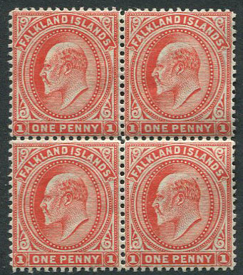 1904-12 Falkland Is. 1d vermilion wmk s/ways (SG44b)