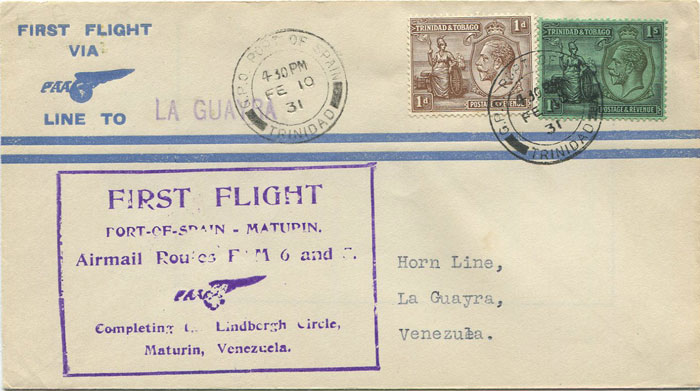 1931 (10 Feb) Trinidad - La Guayra, Venezuela first flight cover per Pan Am