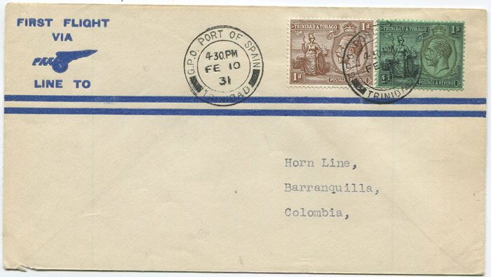 1931 (10 Feb) Trinidad - Barranquilla, Colombia first flight cover per Pan Am
