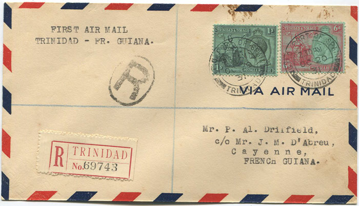 1931 (20 Oct) Trinidad - Cayenne first flight cover per Pan Am