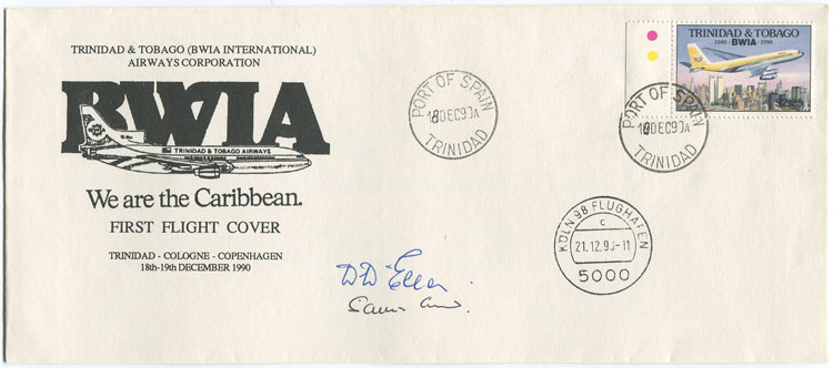 1990 (18 Dec) Trinidad - Cologne, Germany first flight cover per B.W.I.A.