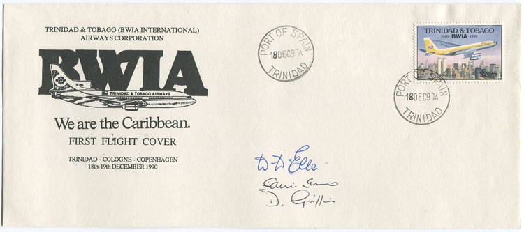 1990 (18 Dec) Trinidad - Cologne, Germany and return first flight cover per B.W.I.A.